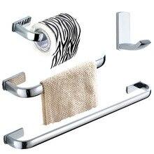 цена Leyden 4pcs Bathroom Accessories Set Chrome Brass Wall Mount Single Towel Bar Towel Ring Toilet Paper Holder Clothes Towel Hook онлайн в 2017 году