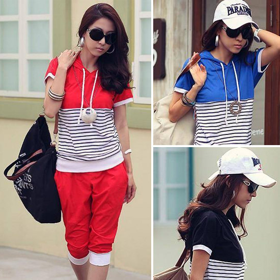 Women Ladies Short Sleeve Striped Casual Loose Summer Sport Suit Sweat Suit Hoodies T-Shirts Pants 2 Pieces Free Shipping 0675