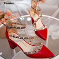 Famiao New  6cm high heels women superstar shoes Rivet buckle Square heel Hasp sexy prom wedding shoes feminino chaussure