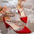 Famiao Nuevos 6 cm tacones altos mujeres superstar zapatos Remache hebilla Cuadrada talón Cerrojo sexy baile zapatos de boda feminino chaussure