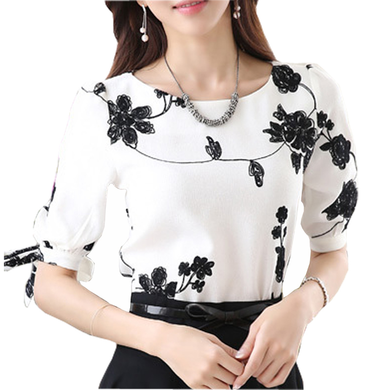 Embroidery Design Lady White Chiffon Blouse Plus Size S-3XL Korean Summer O-Neck Short Sleeve Women Fashion Shirts