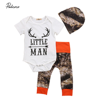 0 24M Little Man Newborn Baby Boy Clothing Set Short Sleeve Romper Tops Orange Camouflage Pants