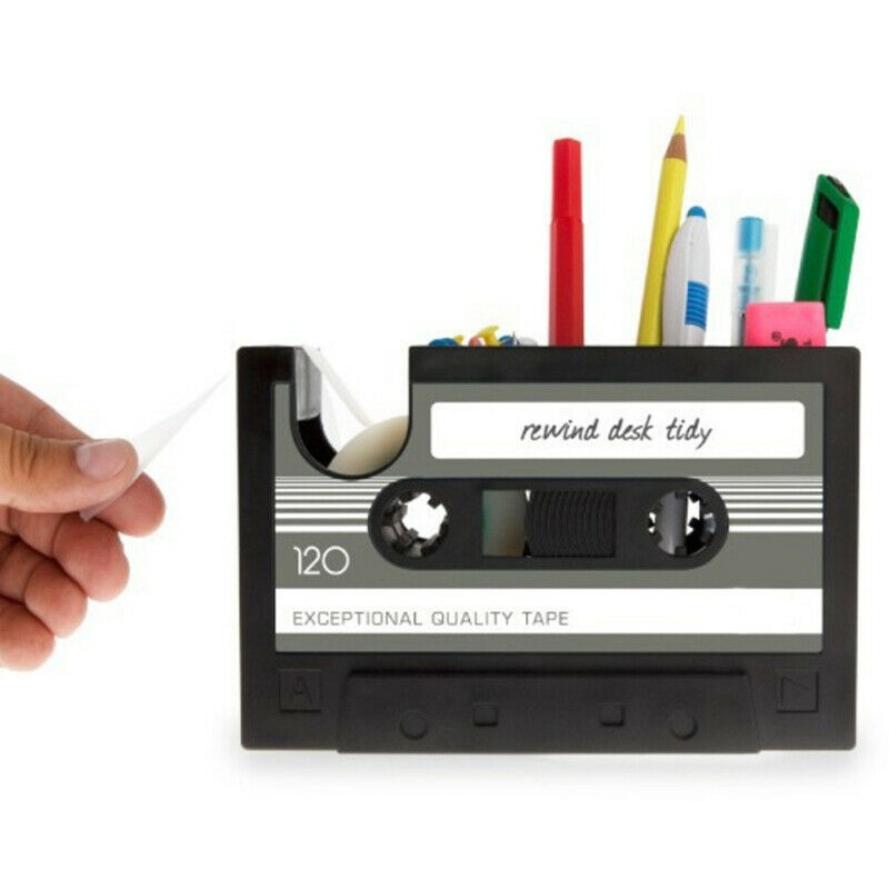 Pen Pencil Holder Cassette Tape Box Office Desktop Organizer Pen Container Storage with tape dispenser