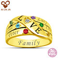 AIJAJA 925 Sterling Silver Family Names Birthstones Rings for Women Personalized up to 6 Names Engraving Friends Family Rings