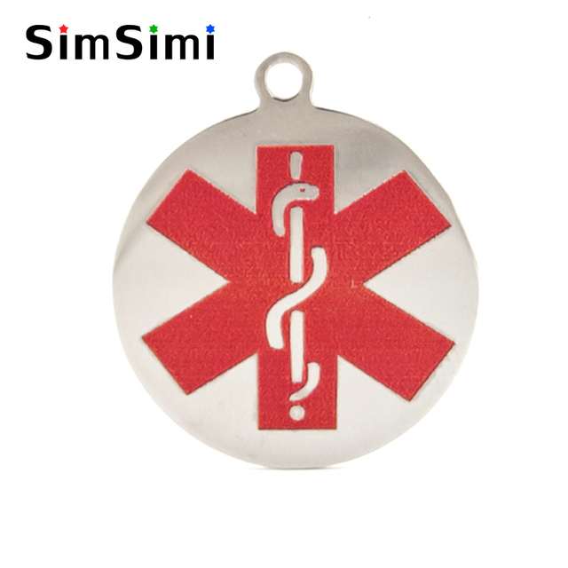 Simsimi Snaky Rod Red Symbol Of The Medical Alert Round Charms