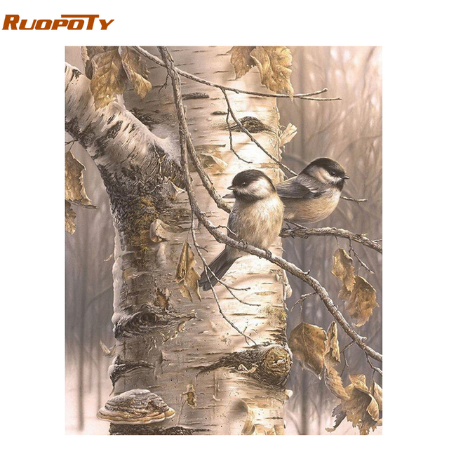 RUOPOTY Frame Birds DIY Painting By Numbers Acrylic Paint On Canvas Hand Painted Oil Painting For Modern Calligraphy Painting