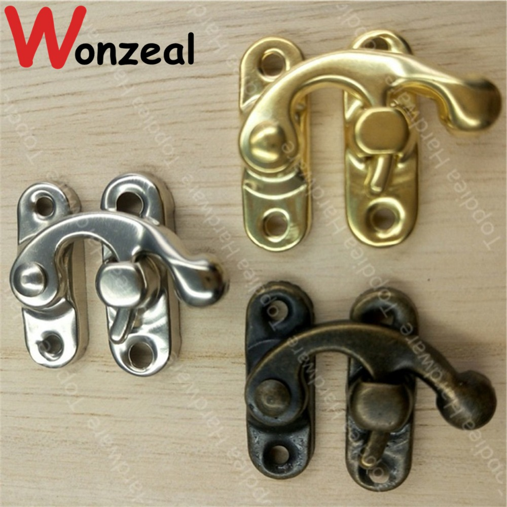 цена 20pcs/lot 29*33mm Silver/Golden/Antique Brass Metal Lock Catch Purse Hasp Lock Vintage Wooden Jewelry Box Padlock Clasp Hasps в интернет-магазинах