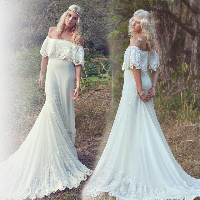 Hot Sale Off the Shoulder Lace Chiffon Boho Wedding Dress Bohemian ...