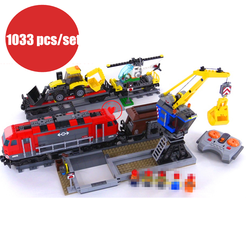 New City Engineering Remote Control RC Train fit legoings technic city figures model Building Block 60098 gift kid set boys city creators radio remote control heavy haul train building block worker figures engineering bricks 60098 rc assemblage toys