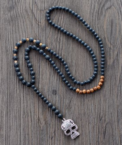 Men Gothic Necklace Matte Black Onyx Wood Skull Pendant Mens Rosary