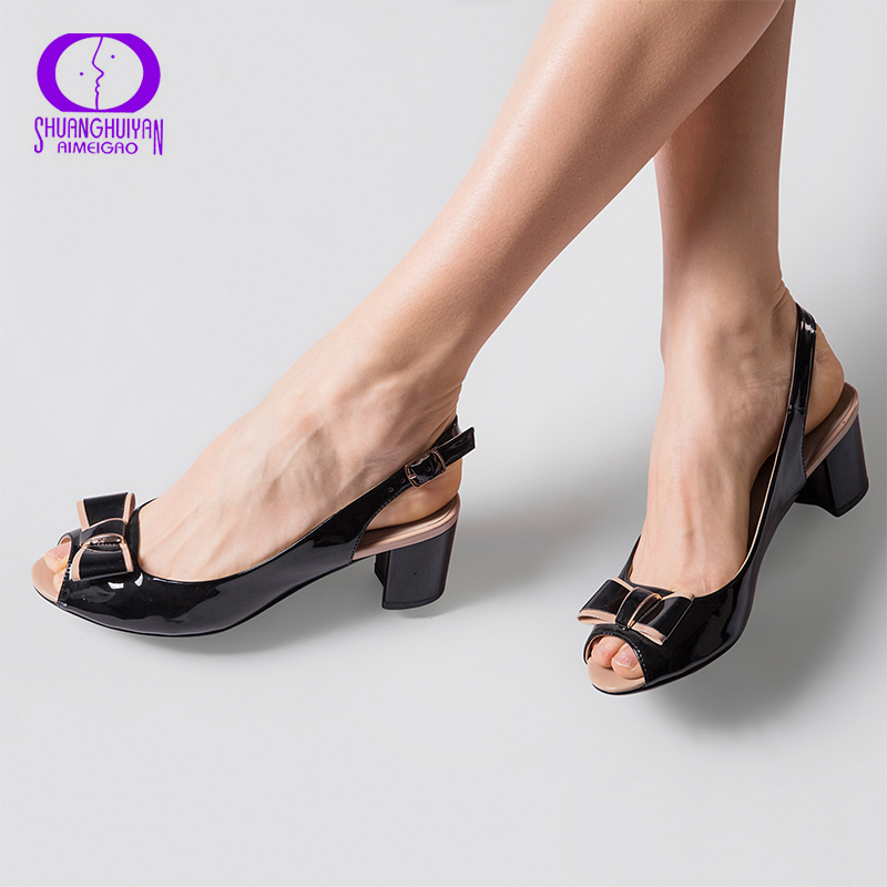 Fashion High Heels Peep Toe Sandals Women Summer Open Toe Thick Heel Sandals Back Strap Buckle Bowtie Woman High Heels Shoes