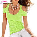 Jahurto Women Candy Color T Shirt Summer Style 2016 Sexy Low Cut Off Shoulder Tops Short Sleeve Slim T-shirts