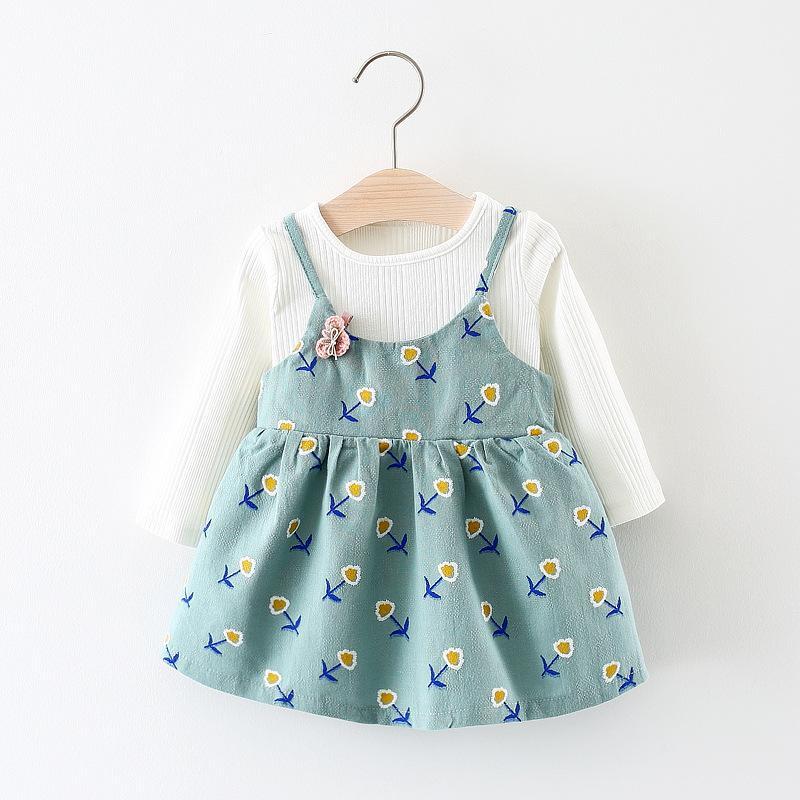 春の秋ベビー服花ロングスリーブ2ピースドレス新生児チュチュ幼児ドレスaライン赤ちゃんプリンセスドレス