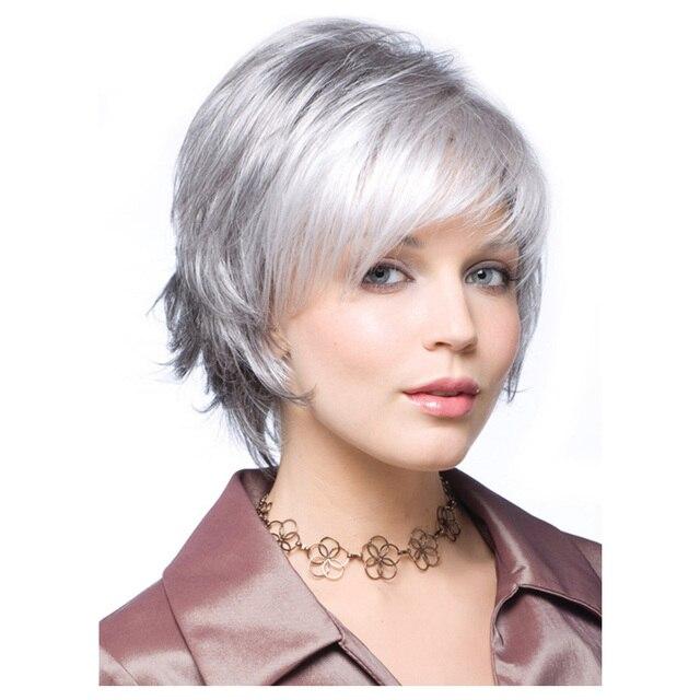 femmes perruque courte argent gris perruques naturel cheveux coupe de lutin synth tique cheveux. Black Bedroom Furniture Sets. Home Design Ideas