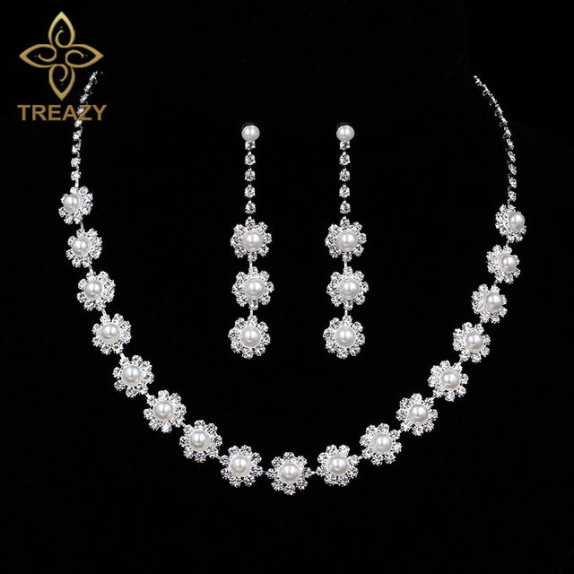 TREAZY Imitation Pearl Crystal Bridal Bridesmaid Wedding Jewelry Sets Choker Necklace Earrings Set For Women Party