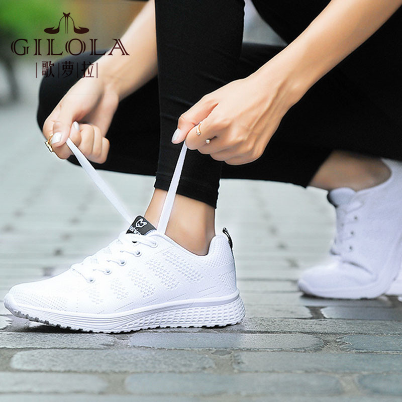 New Fashion Lady Women Sneakers Flat Shoes Breathable Casual Spring Summer Soft High Leisure Lace Up #Y0051356Y