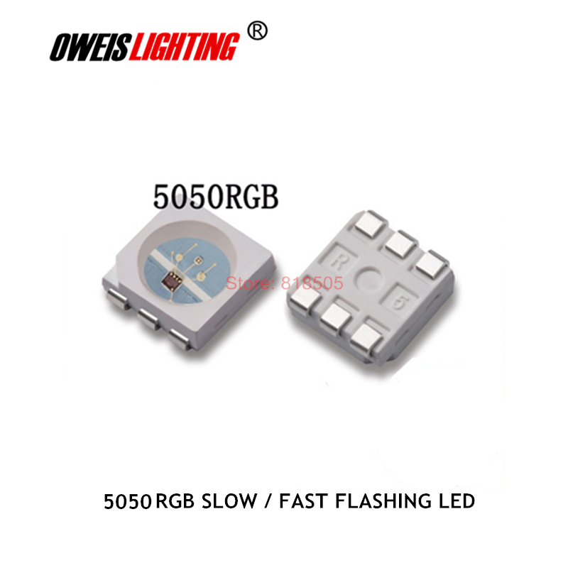 50PCS 5050 RGB LED Self-flashing LEDs With IC ( Slow Flash / Fast Flash ) 3.3-5.0v 20ma 5.0*5.0mm RED BLUE GREEN Lamps