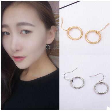 Européen et américain minimaliste tempérament creux géométrie cercle femelle alliage boucles d'oreilles bijoux 1 paire