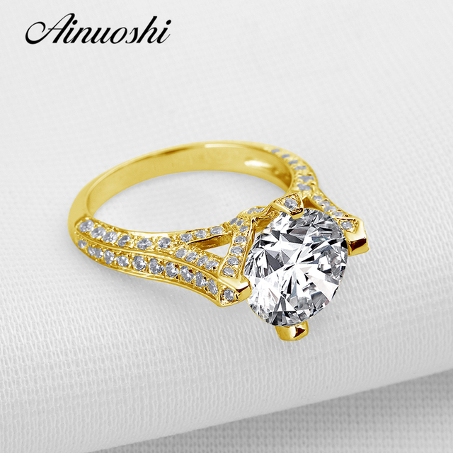 AINUOSHI 2017 Newest Design 10k Solid Yellow Gold Engagement Ring