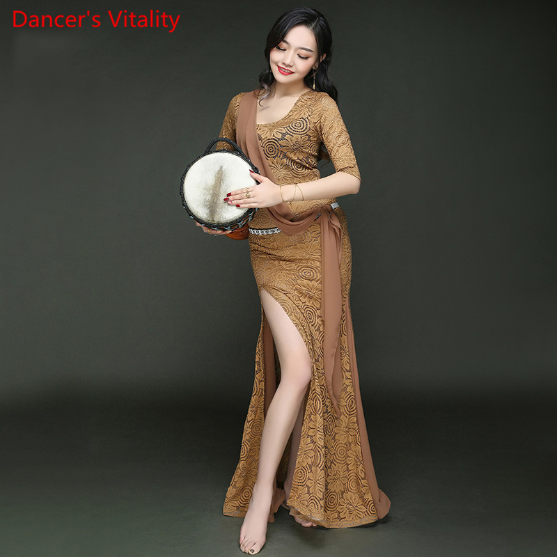 2018 Competition Split Ends Fashion Lace Women Belly Dance Dress Women Latin Dance Dress Ends Belly Dance Dresses For Girl