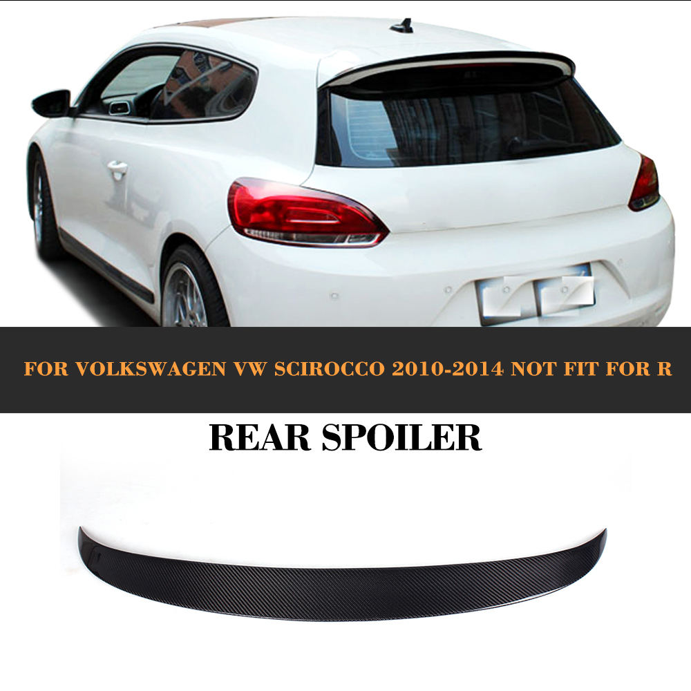 Carbon Fiber Auto Car Rear Trunk Wing Lip Spoiler For Volkswagen VW Scirocco Standard Only 08-13 Non R Black FRP car rear trunk security shield cargo cover for volkswagen vw tiguan 2016 2017 2018 high qualit black beige auto accessories