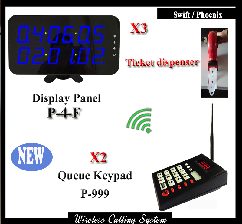 Wireless Queue Management System For Kitchens Restaurants With 2 Wireless Keyboard And 3 Display Receiver With Ticket Dispenser wireless pager system 433 92mhz wireless restaurant table buzzer with monitor and watch receiver 3 display 42 call button