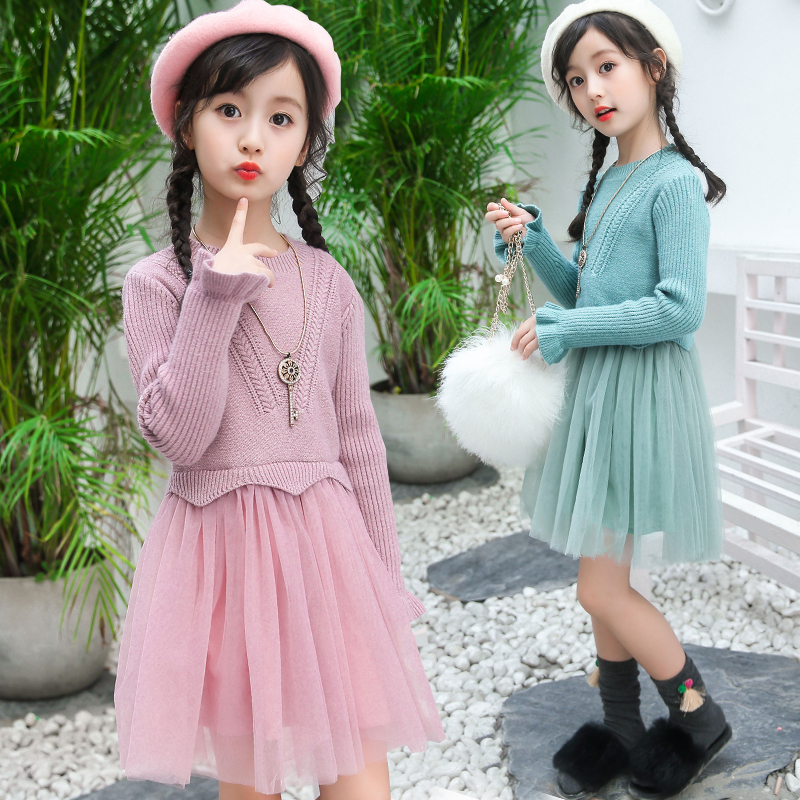2017 New Sweater Dress Kids Girls Knitted Sweater Winter Pullovers Crochet Tutu Dress Christmas Dress Robe Vetement Fille 13 14 girls dress winter 2016 new children clothing girls long sleeved dress 2 piece knitted dress kids tutu dress for girls costumes