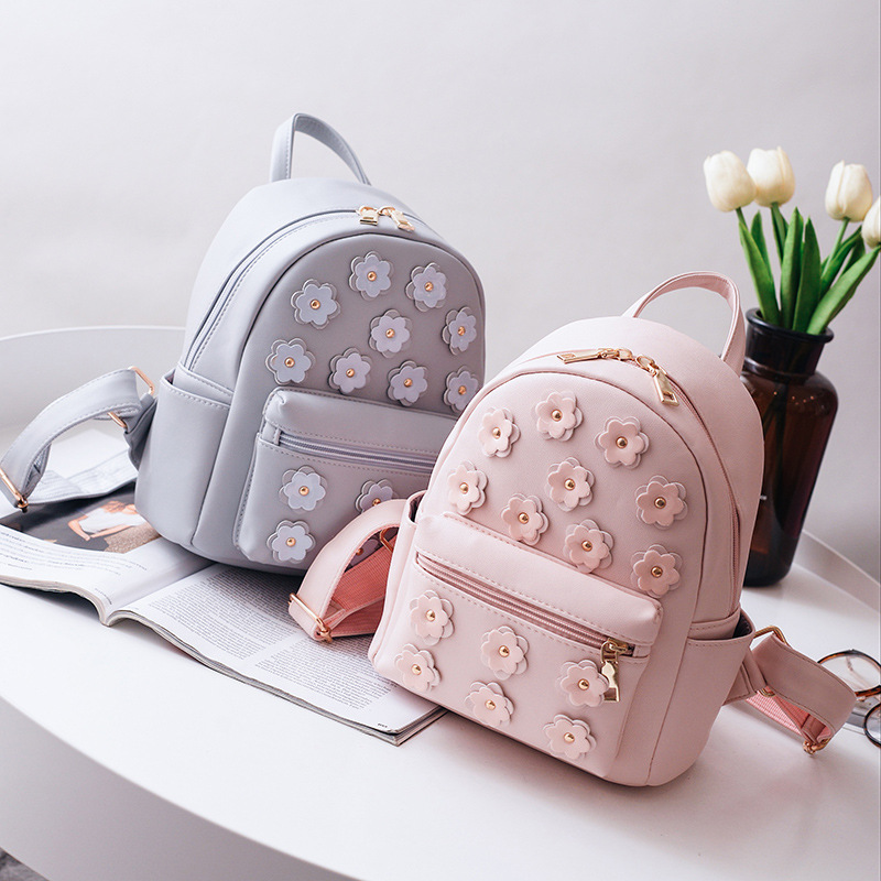 Women Flower Mini Bag Printing Backpack Female Korean School Bags for Teenagers Girls Small Backpack Mochila Escolar 568 cute cartoon women bag flower animals printing oxford storage bags kawaii lunch bag for girls food bag school lunch box z0