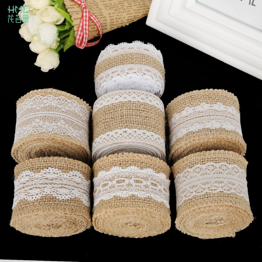 5cm 2m/roll Natural Jute Burlap Hessian Ribbon With Cotton Lace Diy Trim Fabric For Sewing Wedding Decoration Accessories #4