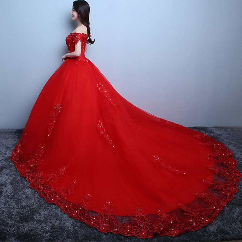 iLoveWedding RedWhite Big Wedding Dresses CathedralRoyal Train Tulle with Applique Women