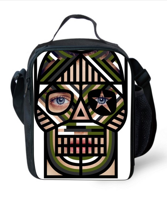 Fashion Shoulder Insulated Lunch Bag for Men Cool Skull Printed Thermal Lunch Box Cooler Lunch Bag Picnic Food Bag
