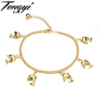 TENGYI Classic Sweet Simple Dolphin Shape Gold Color Anklet For Women Lady Perfect Gift Never Fade TY735