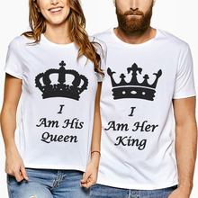 New Arrival Men Tshirts Best Women T Shirt Couple Tees Shirts Matching T-Shirts Lover Clothing Creative Letter Print King Queen letter print matching couple tee