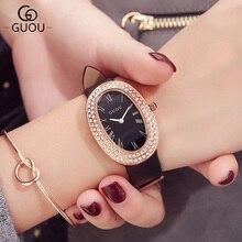 GUOU Марка Montre Femme Новый Для женщин Часы Роскошные Овальный Женская кожаная обувь ремень Кварцевые наручные часы Relojes Mujer