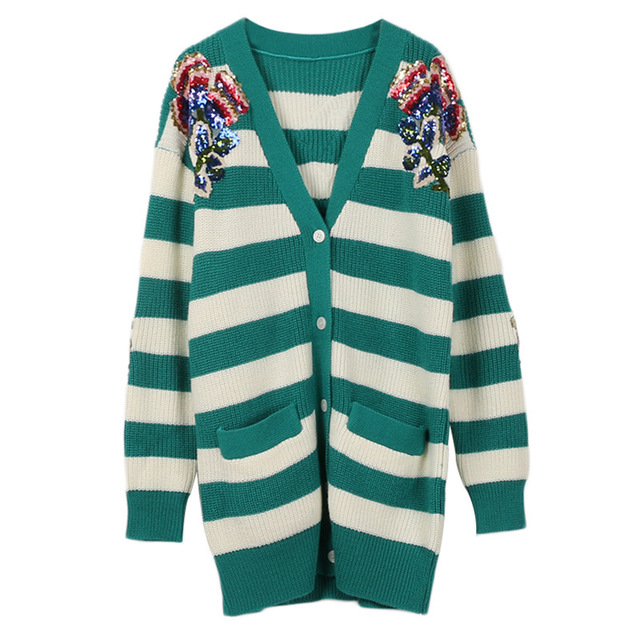 2e972d4633 HZLLHX women elegant V-neck high-end flower and gragon sequins cardigan  female long-sleeve knit cardigan green white stripes