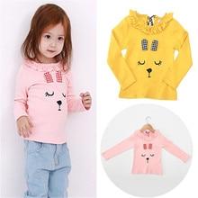 Cute Korean Kids Clothing Cotton Long Sleeve Cartoon Rabbit Lacework Crewneck Tops Clothes Girls Blouse T Shirt Basic