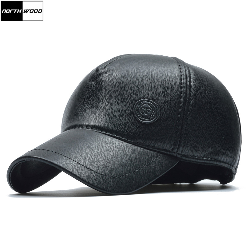 mlb baseball hat with ear flaps mens winter cap black leather font men