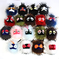 Free Shipping Hot Sale Fluffy Genuine Raccoon Fur Pom Pom Keychain Fur Ball Monster Bag Charm Women Plush Key Chains Key Ring
