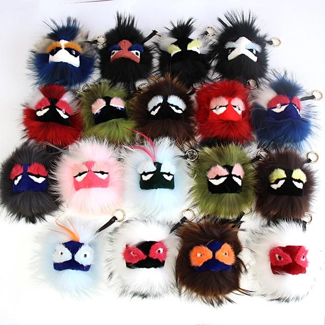 Free Shipping Hot Sale Fluffy Genuine Raccoon Fur Pom Pom Keychain Fur Ball Monster Bag Charm Women Plush Key Chains Key Ring