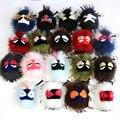 Frete grátis venda quente fofo Genuine Raccoon Fur Pom Pom pele chaveiro bola monstro bolsa charme mulheres de pelúcia chaveiro chave anel