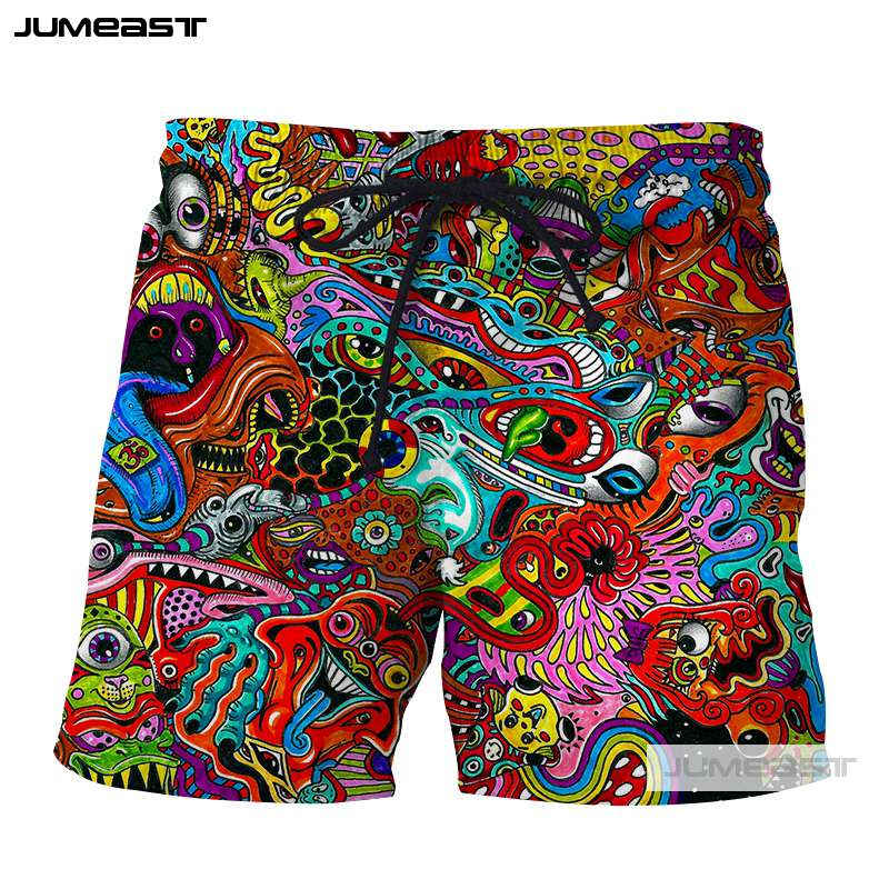 Jumeast 3D Printed Psychedelic Abstract   Short   Pants Colorful Totems Men/Women Loose Size   Short   Novelty   Board     Shorts   Line Robot