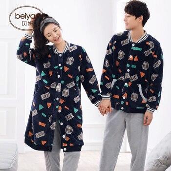 Invierno de lana de Coral amantes pijamas de hombre moda de invierno cálido  ropa deportiva Mujer con traje de franela grueso 7311e0c4b88