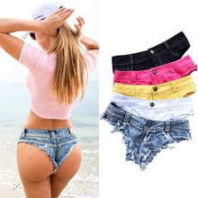 Sexy Denim Micro Mini Shorts For Women Beach Hot Ripped Short Jeans Summer Black 2019