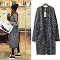Otoño Nueva Moda Señoras de las mujeres de Lana de Cachemira Largo Invierno Parka Jacket Outwear Suéteres Grises Más Tamaño Envío Libre
