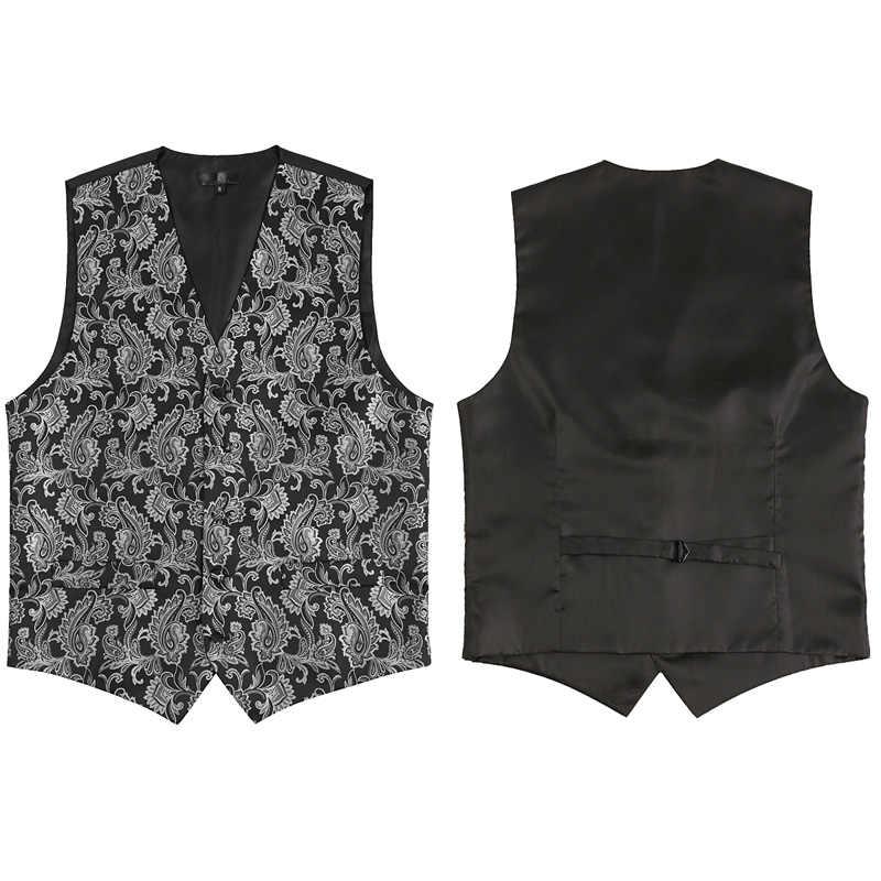 Erkek Siyah Yelekler slim fit uzun kollu erkek gömlek 3 adet Yelek + Kravat + Mendil Seti 2018 Paisley Jakarlı Smokin Takım Elbise Parti Için Yelek düğün
