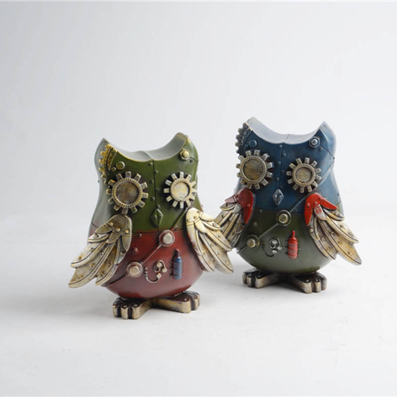 1 Piece Cartoon Owl Resin Model Piggy Bank Classical Toys Play House Crafts Creative Creative Toys For Children Furniture Toy