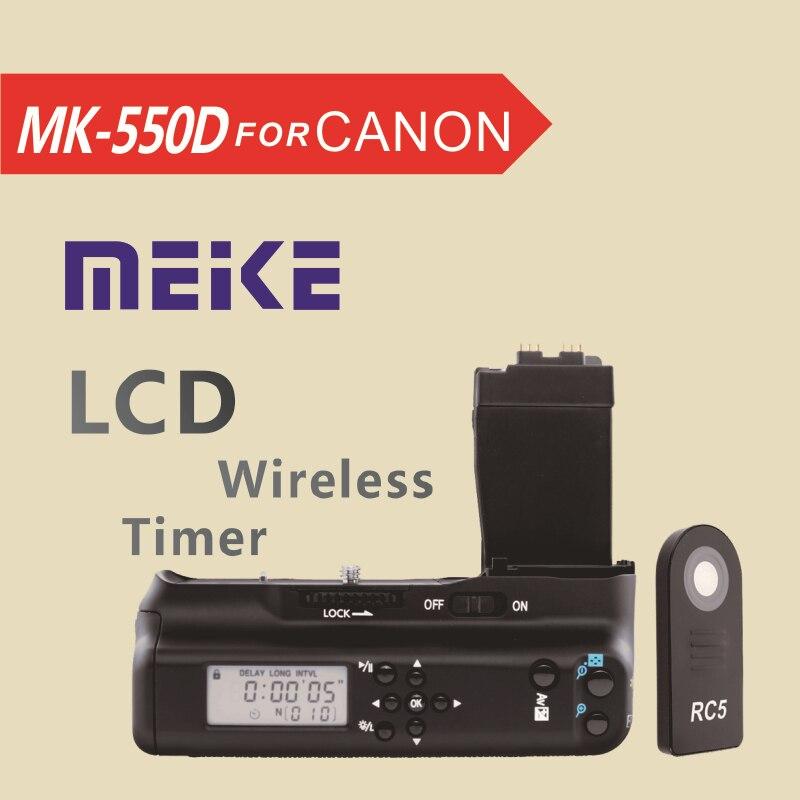 Meike MK550DL LCD Timer Battery Grip for Canon EOS 550d 600d 650d 700d T5i T4i T3i T2i ismartdigi lp e6 7 4v 1800mah lithium battery for canon eos 60d eos 5d mark ii eos 7d
