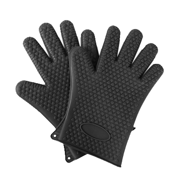 PHFU One pair Kitchen Oven Glove Heat Resistant Silicone Pot Holder Baking BBQ Cook Mitts black