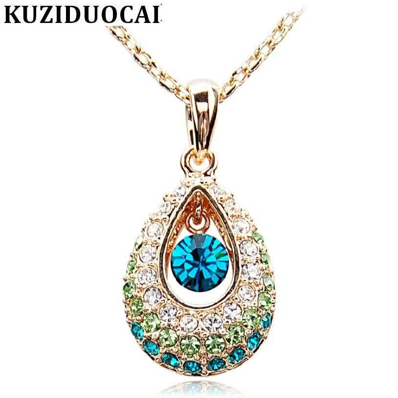 Kuziduocai New Fashion Jewelry 4 Colors Dazzling Crystal Angel Teardrop Drop Charms Chokers Necklaces & Pendants For Women N-94