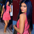 2016 Fashion Kylie Jenner sleeveless dress Women Faux Suede Dress Casual Elegant Sexy Club Party Dresses